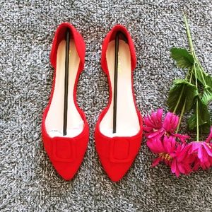 Bamboo D'Orsay Pointed Flats sz 10 (A14)